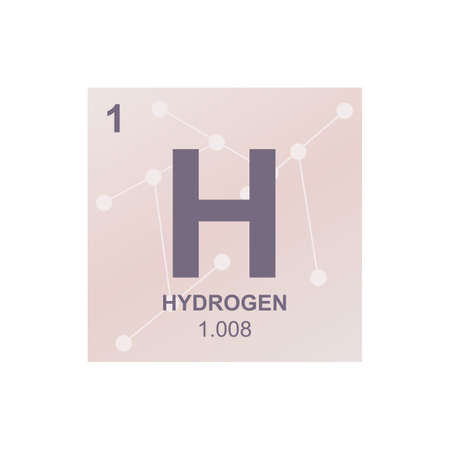 Vector chemical symbol of hydrogen from the periodic table of the elements on the background from connected molecules. The symbol is isolated on a white background. Vectores