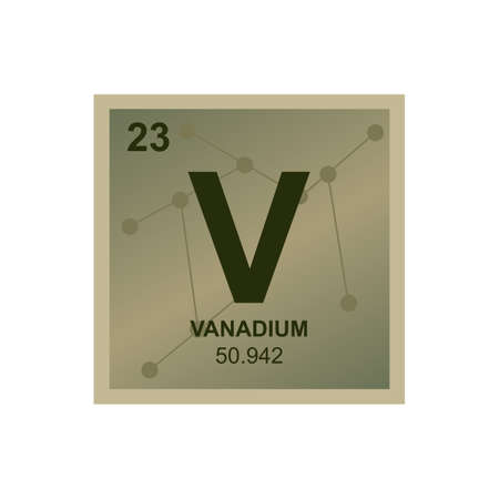 Vector chemical symbol of vanadium from the periodic table of the elements on the background from connected molecules. The symbol of the metal element is isolated on a white background. Vectores