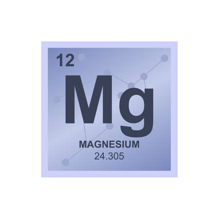 Vector chemical symbol of magnesium from the periodic table of the elements on the background from connected molecules. The symbol is isolated on a white background.