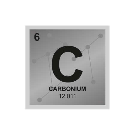 Vector chemical symbol of carbon from the periodic table of the elements on the background from connected molecules. The symbol of the most abundant element is isolated on a white background.