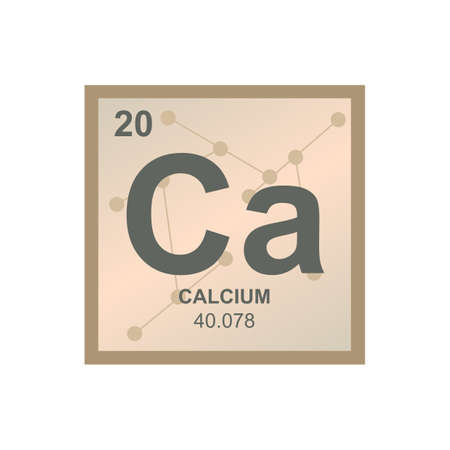 Vector chemical symbol of calcium from the periodic table of the elements on the background from connected molecules. The symbol of the alkaline earth metal element is isolated on a white background. Vectores