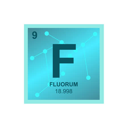 Vector chemical symbol of fluorine from the periodic table of the elements on the background from connected molecules. The symbol of the lightest halogen is isolated on a white background. Vectores