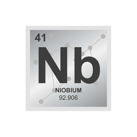 Vector chemical symbol of niobium from the periodic table of the elements on the background from connected molecules. The symbol of the metal element is isolated on a white background.