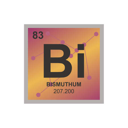 Vector chemical symbol of bismuth from the periodic table of the elements on the background from connected molecules. The symbol is isolated on a white background. Vectores