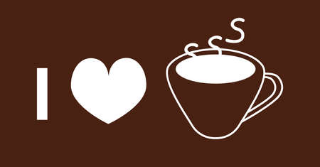 I love coffee. Vector line of outline icon of a coffee cup and heart on brown background. Thematic illustration for cafes and coffee shops.