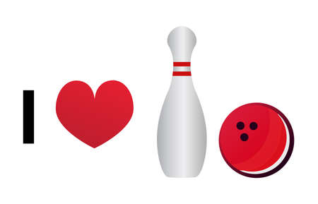 I love bowling. Vector icon isolated on a white background. Bowling pin and bowling ball with a red heart.