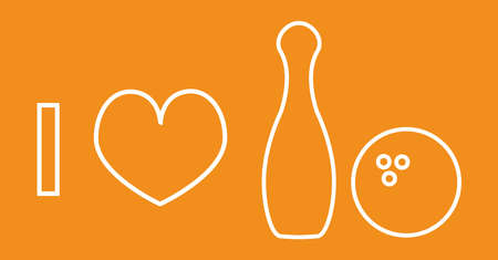 I love bowling - vector line icon isolated on an orange or yellow background. Bowling pin and bowling ball with heart in line or outline design. I love sport, I love fun. Vektorové ilustrace
