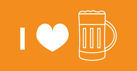 I love beer - vector icon of a pint of gold beer with foam and red heart. The icon is on the orange background. Alcohol concept.