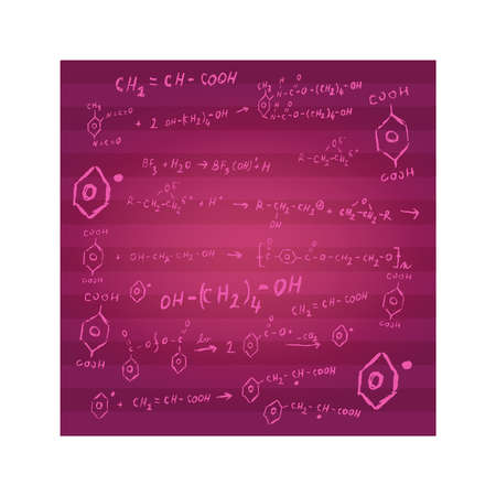 Chemistry background with stripes in burgundy or pink color consisting of chemical reactions and formulas as a sketch. Chemistry design, chemical theme.