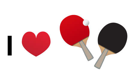 I love table tennis. Vector icon of table tennis bats and ball with heart isolated on a white background. I love sport.