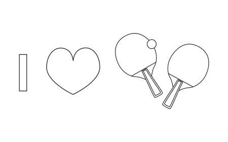 I love table tennis. Vector line icon of table tennis bats and ball with heart in outlines. Black line or outline icon. I love sports.
