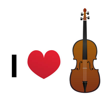 I love violin vector icon - classic wooden violin with a red heart isolated on a white background. I love music, I love playing, I love singing.