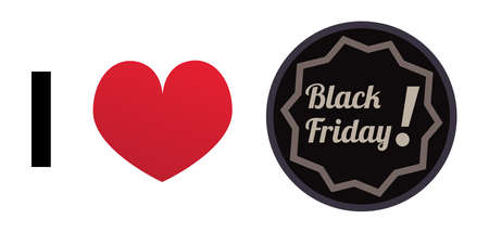 I love black Friday - vector icon with a red heart. Black circle with text. The symbol is isolated on a white background.