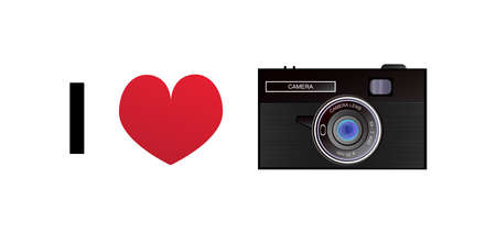 I love a photo or photographing - Vector illustration of a retro camera and red heart isolated on a white background.