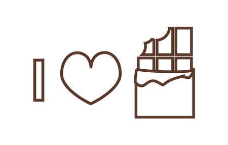 I love chocolate - vector line or outline brown icon of unpacked chocolate and a heart isolated on a white background. I love sweets.