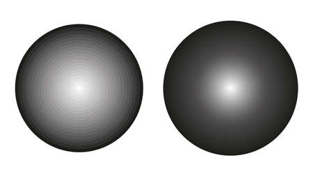 Two vector greyscale circles with a gradient from black to white. Continuous circle with a smooth gradient and circle with step discontinuous gradient.