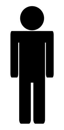 Vector man simple toilet, WC, or bathroom black icon isolated on a white background. Silhouette of a man Çizim