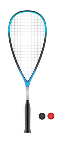 Vector illustration of squash or racketball blue racket and two balls - sports equipment isolated on a white background.