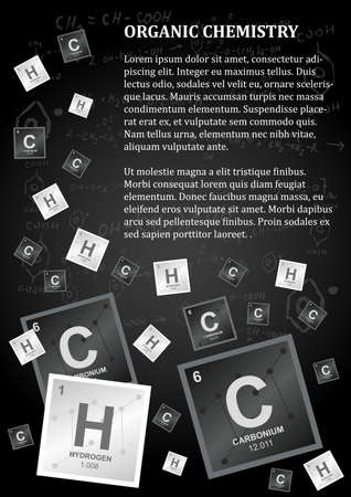Organic chemistry design template in dark colors with a paragraph of text and carbon, hydrogen, and chemical reactions and formulas on a background.
