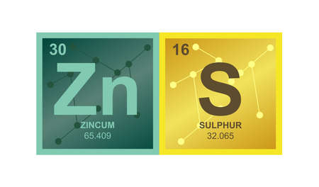 Vector symbol of zinc sulfide ZnS on the background from connected molecules. The icon is isolated on a white background.