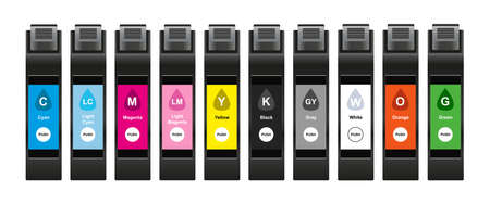 Vector illustration of ink cartridges for inkjet with special inks for a larger range of tones which consist of cyan, light cyan, magenta, light magenta, yellow, black, gray, white, orange, and green.