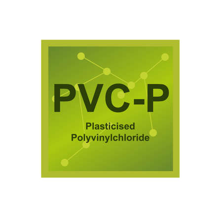 Vector symbol of Plasticised Polyvinylchloride (PVC-P) polymer on the background from connected macromolecules. The icon is isolated on a white background.