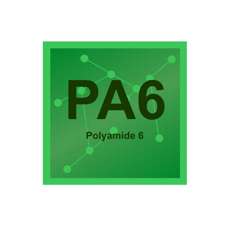 Vector symbol of Polyamide 6 or Nylon 6 (PA6) polymer, semicrystalline polyamide on the background from connected macromolecules. The icon is isolated on a white background.