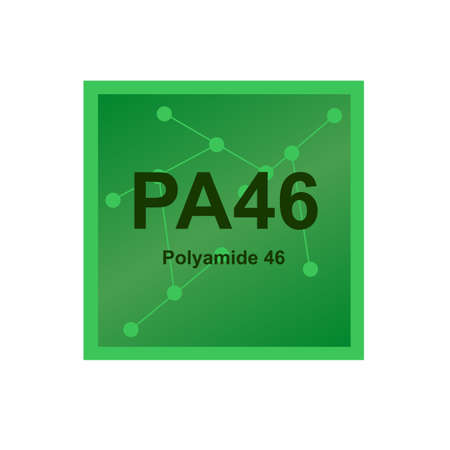 Vector symbol of Polyamide 46 or Nylon 46 - PA46 polymer with a high melting point on the background from connected macromolecules. The icon of the aliphatic polyamide isolated on a white background Stock Illustratie