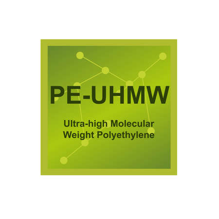 Vector symbol of Ultra high molecular weight polyethylene (UHMWPE, PE-UHMW) polymer on the background from connected macromolecules. Balanced combination of high abrasion resistance isolated on white.