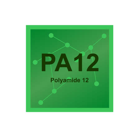 Vector green symbol of polyamide 12 or nylon 12 (PA12) - a polymer made from ω-amino lauric acid, laurolactam monomers. The symbol on the background from connected macromolecules is isolated on white.