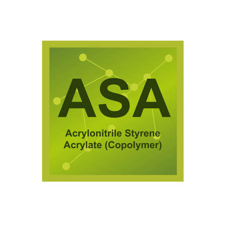 Vector green symbol of acrylonitrile styrene acrylate (ASA) - thermoplastic weather-resistant polymer on the background from connected macromolecules isolated on a white background.