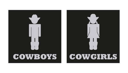 Cowboys and cowgirls vector toilet, bathroom, or wc signs. Gray icons in black square isolated on a white background. Wild west concept. Illusztráció