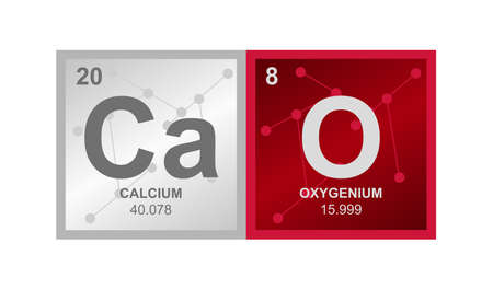 Vector symbol of calcium oxide CaO which consists of calcium and oxygen on the background from connected molecules. The icon is isolated on a white background.