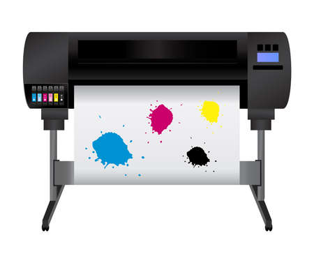 Large inkjet plotter printer for printing many products such as billboards, posters, roll-ups, and more large formats with cyan, magenta, yellow and black blots.