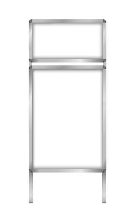 Vector illustration of blank double-sided sandwich advertising stand board with main and top ad slots - a frame sign isolated on a white background. Street advertising outdoor board template.