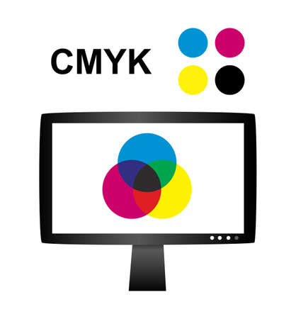 Vector illustration of cmyk concept with lcd monitor - Subtractive color mixing with cyan, magenta, yellow and black primary colors. prepress and press printing concept.
