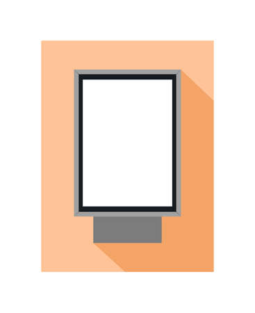 Vector flat icon of street citylight lightbox or city light lightbox, or billboard for advertising with a dark shadow on an orange background. Advertising promo material, template for poster.