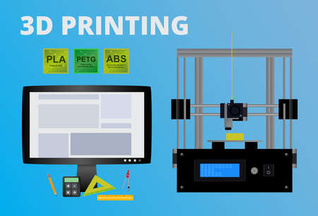 Vector concept of 3D printing. Icon of fused deposition modeling printer, LCD monitor with the program, polymers used as filaments - pla, abs, petg and tools for a printer. Design on a blue background