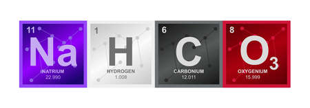 Vector symbol of Sodium bicarbonate NaHCO3 compound consisting of sodium, hydrogen, carbon, and oxygen atoms and molecules on the background from connected molecules. Chemistry formula isolated. 向量圖像