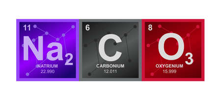 Vector symbol of sodium carbonate Na2CO3 compound consisting of sodium, carbon, and oxygen atoms and molecules on the background from connected molecules. The icon is isolated on a white background.