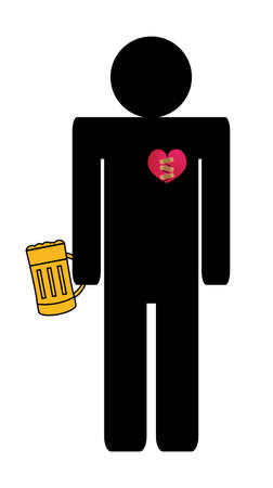 Vector illustration of alcohol addict man with a broken heart with a mug or pint of gold beer. Drinking in a difficult part of life. Death, depression, breakup, hassle and other hard emotional things.