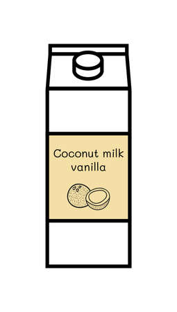 Vector line icon of flavored vegan vanilla coconut milk isolated on a white background. Plant-based non-dairy alternative. Icon of carton box with screw cap and with label with illustration of coconut