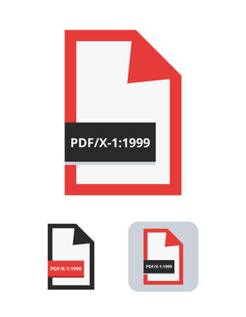 pdf / x-1: 1999 file flat vector icon. Symbol of PDF / X-1 - the first ISO standard for blind exchange of PDF in CMYK between a graphic designer and printing plant or printing house isolated on white. Stock Illustratie
