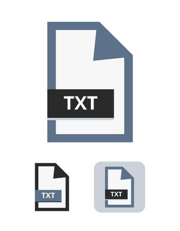 Set of vector simple blue, black, and gray illustrations of txt format. A text file - computer file structured as a sequence of lines of electronic plain text. Text file only for plain text isolated.