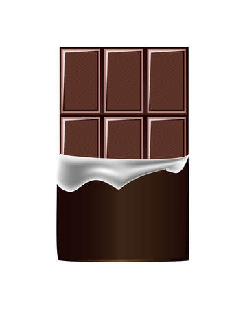 Vector realistic illustration of cocoa dark chocolate bar with unpacked wrapper isolated on a white background. unhealthy confectionery, sweetness, or sweet.