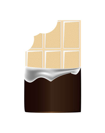 Vector realistic illustration of unpacked bitten sweet white milk chocolate bar isolated on a white background.