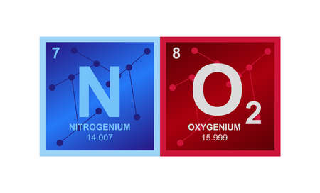 Vector symbol of NO2 Nitrogen dioxide gas molecule on the background from connected molecules. The illustration is isolated on a white background. Ilustración de vector