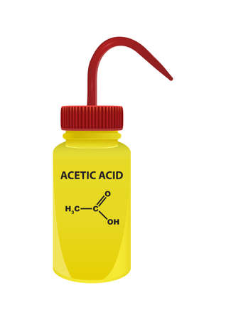 Vector plastic laboratory yellow wash bottle with acetic acid CH3COOH. Polar chemical solvent. On the container is the name and formula of chemical substance. Isolated on a white background.