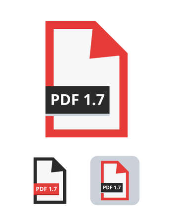 Pdf file version 1.7 flat vector icon. PDF format supporting 3D graphic. Symbol of the portable document file for web, print, and 3d graphics isolated on a white background.