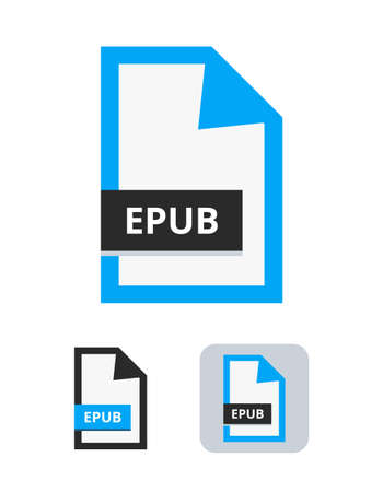 epub file vector icon. Symbol of EPUB electronic publication format for online books. The symbol is isolated on a white background. 向量圖像